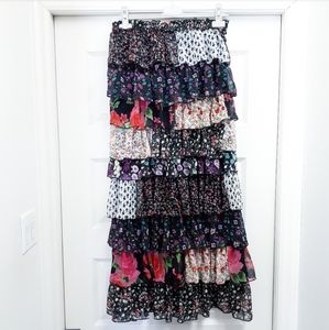 Vintage Floral Patchwork Tiered Ruffle Maxi Skirt